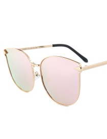 Fashion Light Pink Square Shape Decorated Sunglasses
