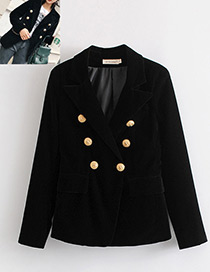 Fashion Black Pure Color Decorated Long Sleeves Coat