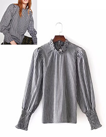 Fashion White+black Grid Pattern Decorated Long Sleeves Blouse