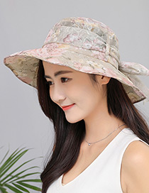 Fashion Khaki Lace Design Foldable Anti-ultraviolet Hat