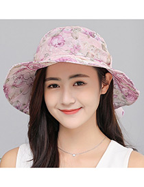 Fashion Pink Lace Design Foldable Anti-ultraviolet Hat