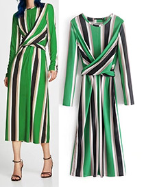 Fashion Green Stripe Pattern Decorated Long Dress