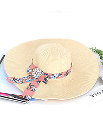 Trendy Beige Bowknot Decorated Hand-woven Hat