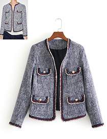 Fashion Gray+red Color Matching Design Long Sleeves Coat