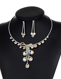 Fashion Multi-color Full Diamond Decorated Jewelry Sets