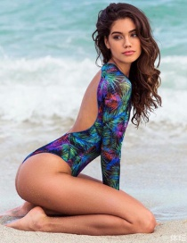Sexy Multi-color Leaf Pattern Decorated Long Sleeves Bikini