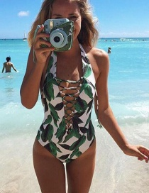 Sexy Green Leaf Pattern Decorated Hollow Out Bikini