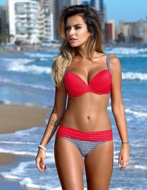 Sexy Red+blue Color Maching Decorated Bikini