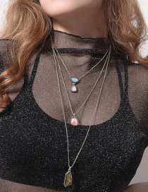 Fashion Silver Color Irregular Shape Decorarted Long Necklace