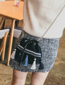 Fashion Black Tassel Decorated Bag