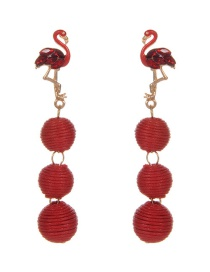 Fashion Red Flamingo&balls Decorated Long Earrings