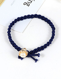 Fashion Navy Pearls Decorated Simple Hair Band