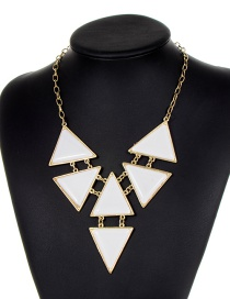Fashion White Triangle Shape Decorated Necklace