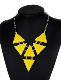 Fashion Yellow Triangle Shape Decorated Necklace