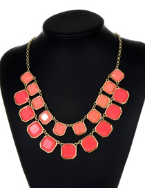 Fashion Pink Square Shape Decorated Necklace