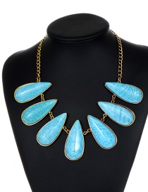 Fashion Blue Waterdrop Shape Decorated Necklace