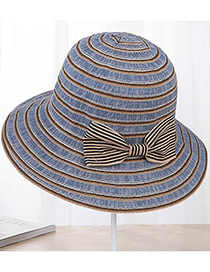 Fashion Navy Strip Shape Decorated Hat