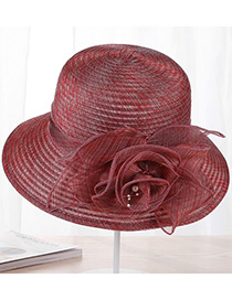Fashion Claret-red Flower Shape Decorated Hat