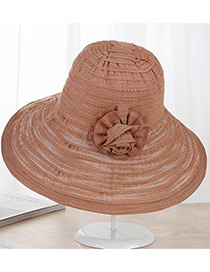 Fashion Khaki Flower Shape Decorated Hat