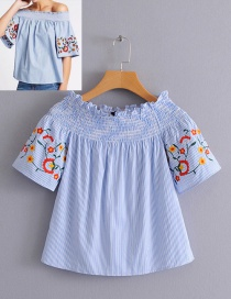 Fashion Light Blue Flower Pattern Decorated Blouse
