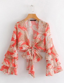 Fashion Red Bowknot Shape Decorated Blouse