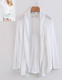 Fashion White Pure Color Decorated Simple Blouse