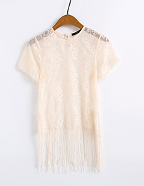 Fashion Beige Tassel Decorated Blouse