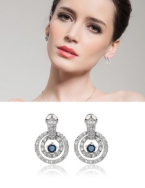 Fashion Blue Round Shape Decorated Pearl Earrings