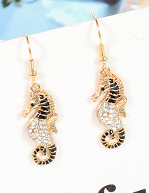 Fashion Black Seahorse Shape Decorated Earrings