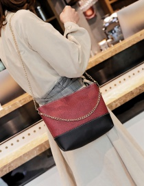 Fashion Claret-red Color-matching Decorated Bag