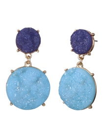Fashion Purple+blue Round Shape Decorated Earrings