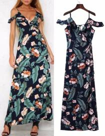 Fashion Navy Flower Pattern Decorated Dress