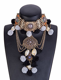 Trendy Black Pom Ball Decorated Necklace