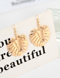 Fashion Gold Color Leaf Shape Design Hollow Out Earrings