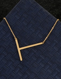 Fashion Gold Color T Letter Shape Decorated Necklace