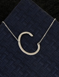 Fashion Silver Color C Letter Shape Decorated Necklace