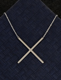 Fashion Silver Color X Letter Shape Decorated Necklace