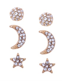 Fashion Gold Color Moon&star Shape Decorated Earrings(3pcs)