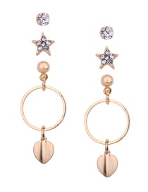 Fashion Gold Color Round Shape Decorated Earrings(3pcs)