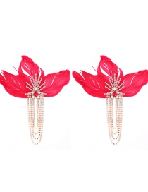 Fashion Red Tassel Decorated Feather Earrings