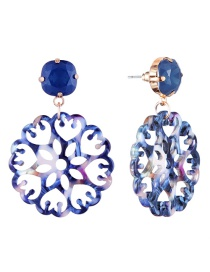 Fashion Blue Hollow Out Design Flower Earrings
