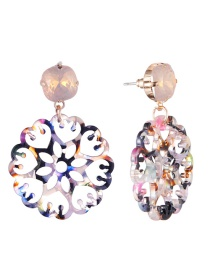 Fashion Yellow Hollow Out Design Flower Earrings