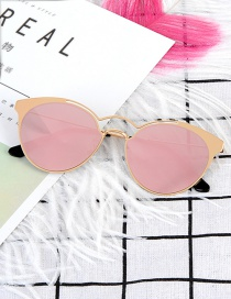 Fashion Pink Pure Color Decorated Sunglass