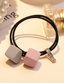 Fashion Gray+pink Square Shape Decorated Hair Band
