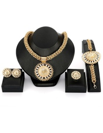 Fashion Gold Color Round Shape Decorated Jewelry Set (4 Pcs )