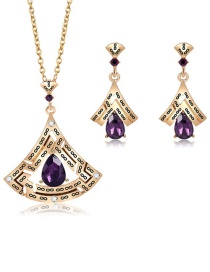 Fashion Gold Color Water Drop Shape Decorated Jewelry Set (3 Pcs )