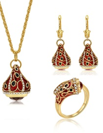 Fashion Gold Color Water Drop Shape Decorated Jewelry Set (4 Pcs )