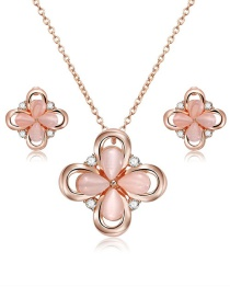 Fashion Gold Color Flower Shape Decorated Jewelry Set (3 Pcs)
