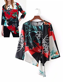 Fashion Black+red Flower Pattern Decorated Shirt