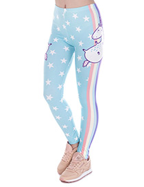 Fashion Blue Star Pattern Decorated Trousers